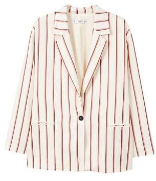MANGO Striped unstructured blazer