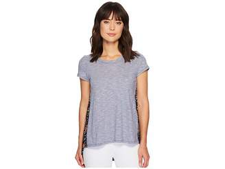 Mod-o-doc Micro Stripe Short Sleeve T-Shirt w/ Pleated Contrast Back Panel Women's T Shirt