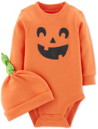 Carter's Baby Boys & Girls 2-Pc. Pumpkin Cotton Hat & Bodysuit Set