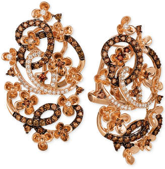 LeVian Le Vian Crazy Collection Diamond Fancy Scroll Floral Earrings (1-1/3 ct. t.w.) in 14k Rose Gold
