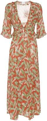 Leone We Are leaf print maxi robe