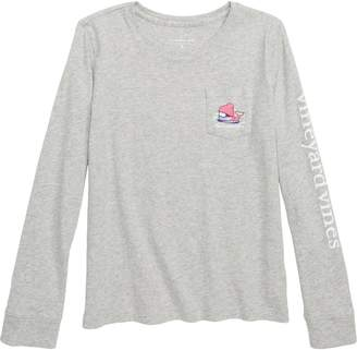 Vineyard Vines Skier Whale Long Sleeve Pocket Tee
