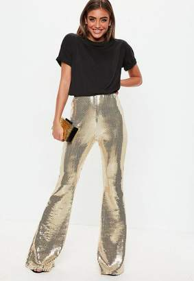 Missguided Tall Gold Sequin Flare Trousers