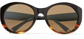 Victoria Beckham Upswept Oval Cat-Eye Tortoiseshell Acetate And Gold-Tone Sunglasses