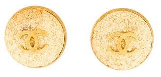 Chanel CC Logo Textured Clip-On Earrings