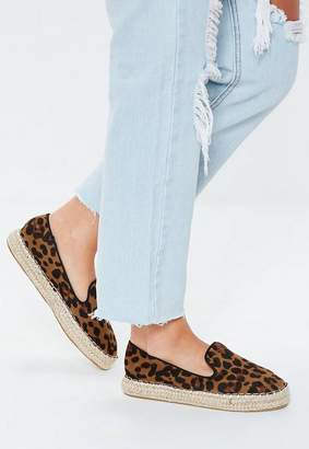 Missguided Brown Leopard Print Flat Espadrilles