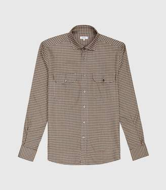 Reiss Towns - Gingham Overshirt in Brown