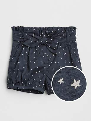 Gap Print Tie-Belt Bubble Shorts