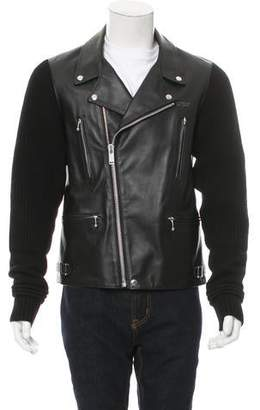 Undercover Wool-Trimmed Leather Jacket w/ Tags