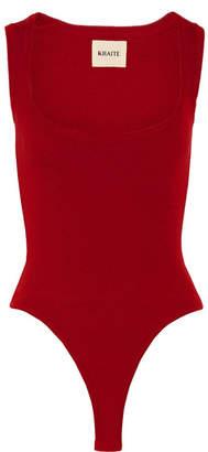 Khaite - Kylie Ribbed Stretch-wool Bodysuit - Red
