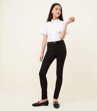 New Look Girls Black Belted Slim Leg Trousers