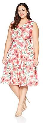 Calvin Klein Women's Plus Size Sleeveless V-Neck Fit & Flare Dress