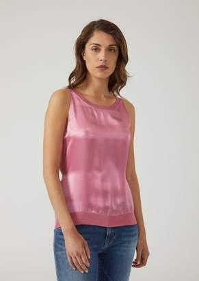 Emporio Armani Silk Satin Top With Plain Knit Back