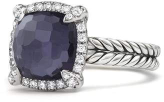 David Yurman Chatelaine Pave Bezel Ring with Black Orchid & Diamonds, 9mm