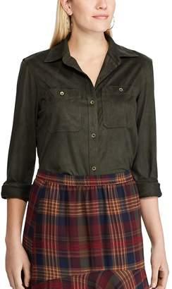 Chaps Women's Faux-Suede Utility Shirt