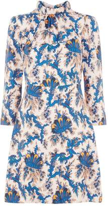 Sandro Printed Silk Shift Dress