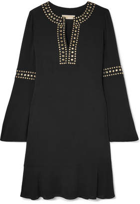 MICHAEL Michael Kors Stud-embellished Crepe Mini Dress - Black