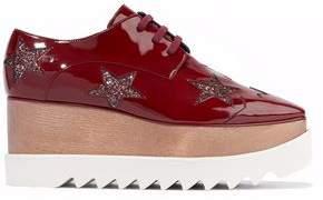 Stella McCartney Elyse Glittered Faux Patent-Leather Platform Brogues