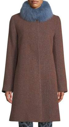 Fleurette Long Alpaca & Wool-Blend Coat w/ Fur Collar
