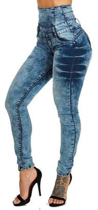 ModaXpressOnline Erotic Touch Tie-Dye Butt Lift High Waist Skinny Jeans 11049M