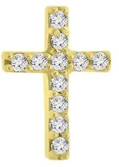 14k Yellow Gold Diamond Cross Single Earring