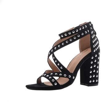 Glamorous Mila Lady (Ursula Women's Platform Strappy with Studs Embellishment Block Chunky Heels