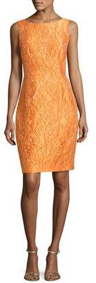 Carmen Marc Valvo Sleeveless Floral Jacquard Cocktail Dress, Tangerine $595 thestylecure.com