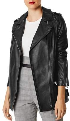 Karen Millen Long Leather Biker Jacket