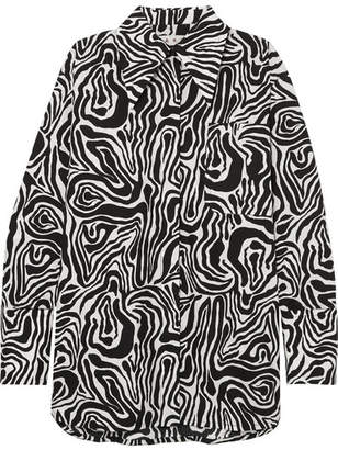 Marni Oversized Zebra-print Cotton-poplin Shirt - Black