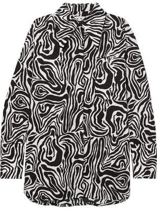 Marni Oversized Zebra-print Cotton-poplin Shirt - Black