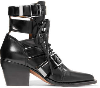 Chloé Rylee Cutout Leather Ankle Boots - Black