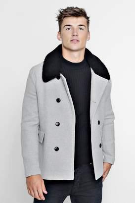 boohoo Borg Collar Wool Blend Pea Coat
