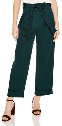 Sandro Side Belted Cropped Wide-Leg Pants