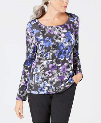 Karen Scott Orchid Glory Printed Cotton Top, Created for Macy's