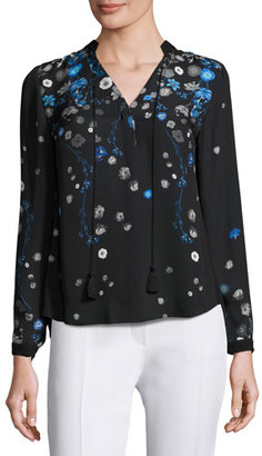 Elie Tahari Amina Long-Sleeve Tie-Neck Floral-Print Blouse, Multi $298 thestylecure.com