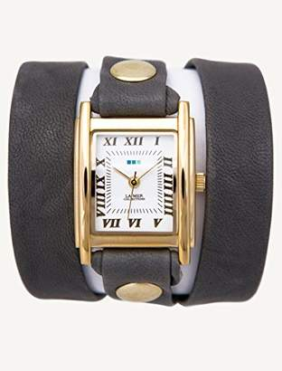 La Mer Women's LMWTW1033 14k Gold-Plated Watch with Grey Leather Wrap-Around Band