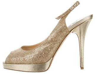 Jimmy Choo Glitter Peep-Toe Slingbacks