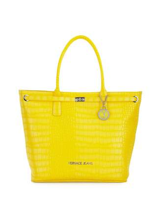Versace Jeans Large Crocodile-Embossed Tote Bag, Yellow $325 thestylecure.com