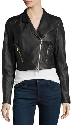 Jason Wu Cropped Leather Moto Jacket, Black