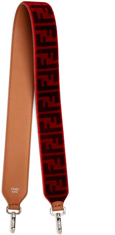 FENDI Strap You logo-print velvet bag strap