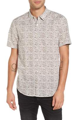 John Varvatos Slim Fit Animal Print Short Sleeve Sport Shirt