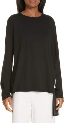 Clu Pleat Accent Crewneck Long Sleeve Top