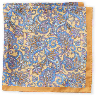 Piattelli Bruno Gold Floral Paisley Silk Pocket Square