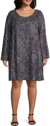 Boutique + + Long Sleeve Brushed Swing Dresses - Plus