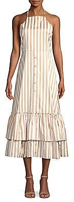 Caroline Constas Women's Gretta Ruffle Midi Dress