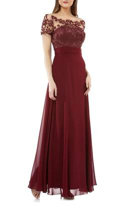 JS Collections Embroidered Illusion Bodice Gown