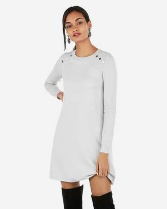 Express Button Detail A Line Sweater Dress