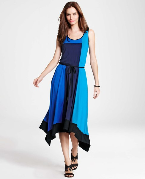 Ann Taylor Petite Colorblocked Maxi Dress