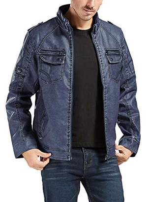 Trimthread Men's Vintage Style Distressed Sherpa Lined Zip Winter Faux Leather Jacket (