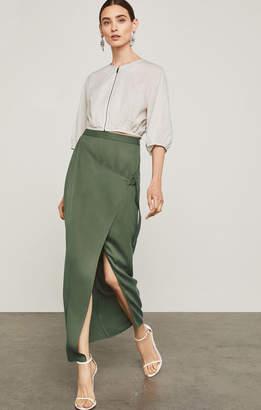 BCBGMAXAZRIA Microsuede Maxi Wrap Skirt